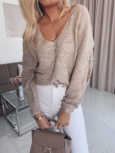 Yoins Patch Lace V-neck Long sleeves Sweater