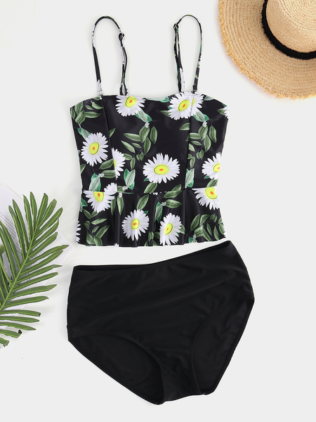 High Waisted Swimsuits Black Racerback Printed Top and Swimwear Cropped Pants
