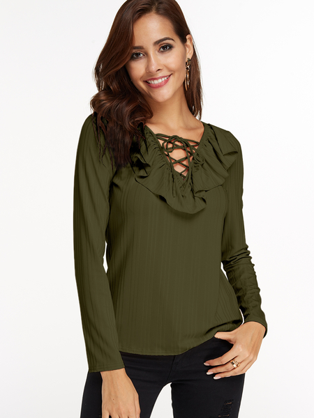 Yoins Army Green Stripe Flounced Details Lace Up Design Deep V-neck Long Sleeves T-shirt