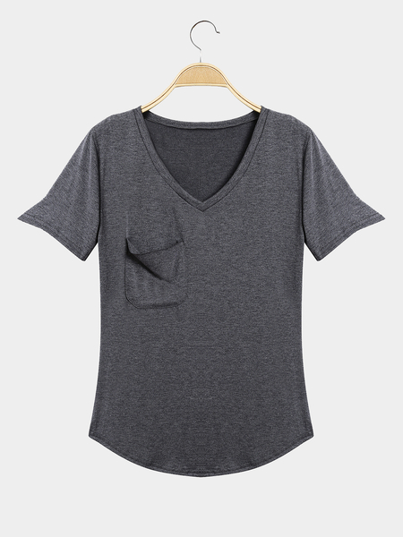 Yoins Casual Style Front Pocket V-neck T-shirt