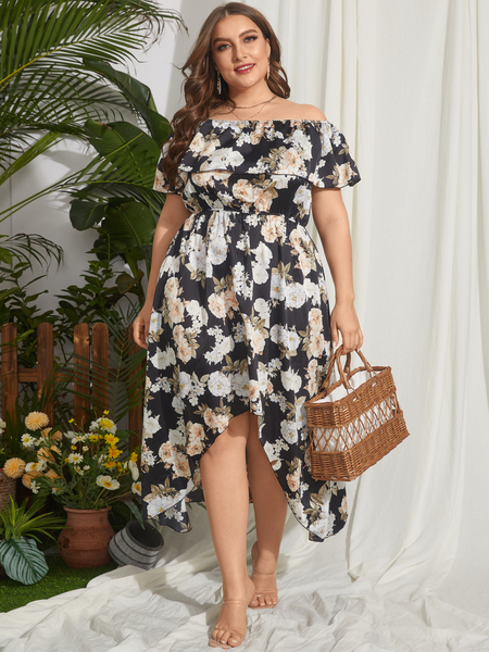 Yoins Plus Size Floral Print Off-the-shoulder Overlay Short Sleeves Maxi Dress
