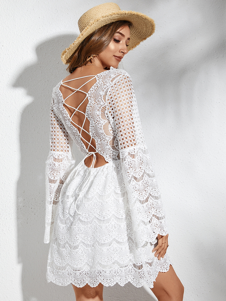 YOINS White Lace Hollow Design Backless Criss-cross V-neck Bell Sleeves Dress