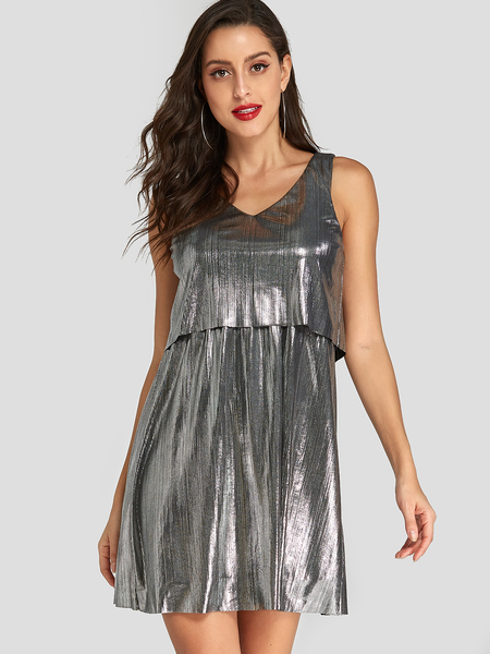 Yoins Silver Double Layer Sleeveless Party Dress