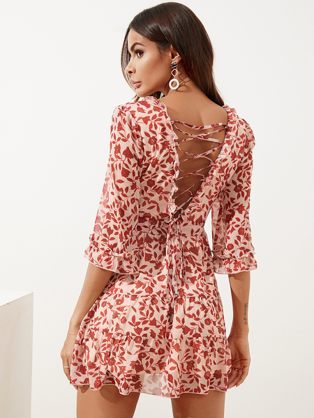 YOINS Belted Criss-cross Calico Wrap V-neck Ruffle Sleeves Dress