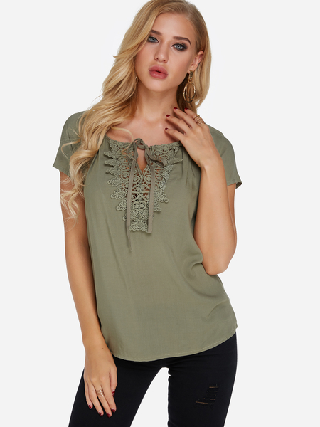 Yoins Army Green Lace Details Short Sleeves Tie-up Design Blouse