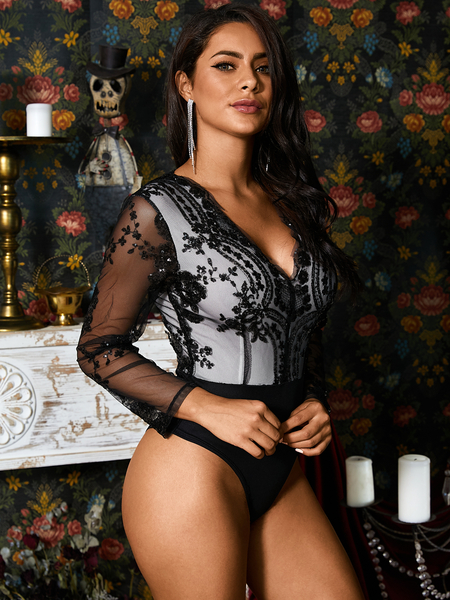 Yoins Black Long Sleeves Embroidered Sequin Sexy Bodysuit