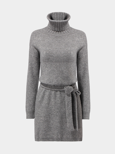 Grey Knitted Dress with High Neckline