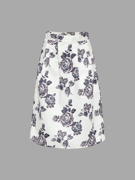 Yoins Full A-line Midi Skirt With Floral Print