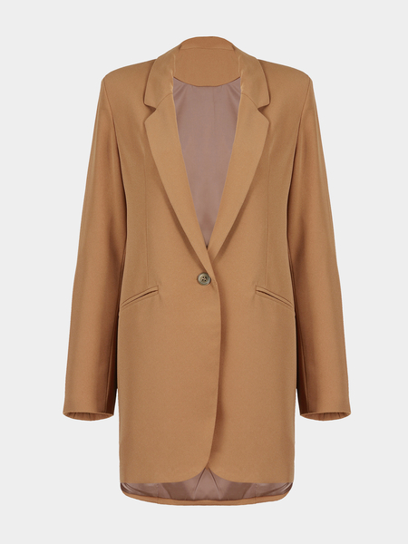 Long Sleeve Covered Button Blazer
