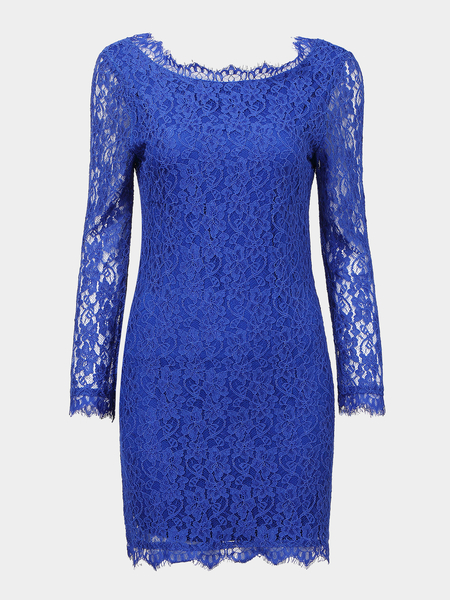 Crochet Lace Party Dress with 3/4 Length Sleeve
