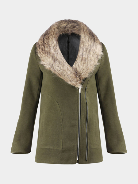 Coat with Oversize Faux Fur Collar
