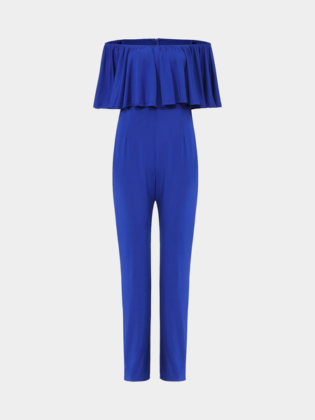 Jumpsuit With Off Shoulder Ruffle In Blue