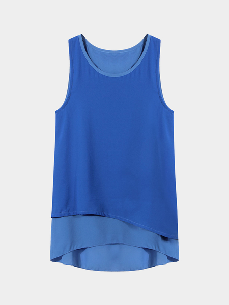 Layered Tank Top In Blue