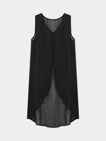 Black Chiffon Swallow-Tailed Cami Top