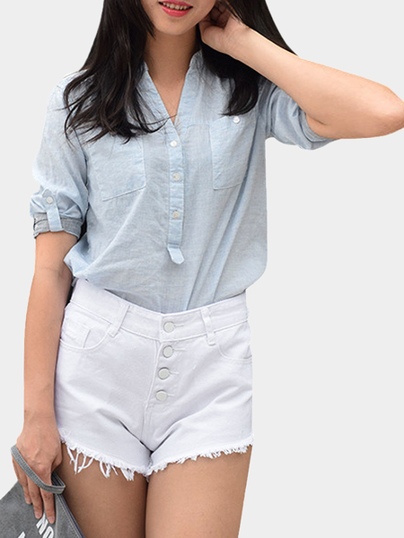 White Button Front Rips Denim Shorts