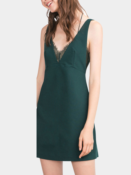 Green Strappy V Neck Dress With Lace Trim
