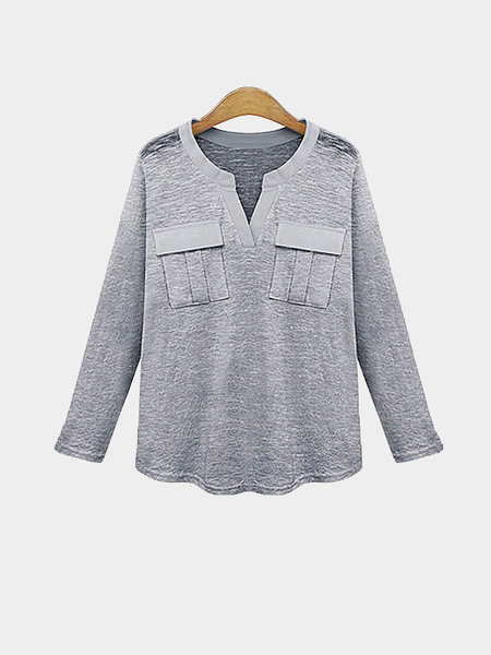 Plus Size Grey Chest Pocket Casual Top