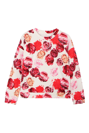 Colorful Sweatshirt with Rose Print