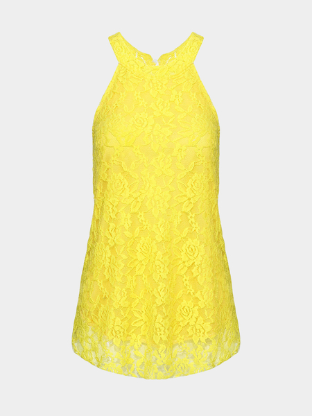Yellow Lace Camis With Halter Neck