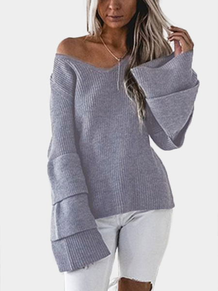 Grey Knitting V-neck Tiered Bell Sleeves Sweaters