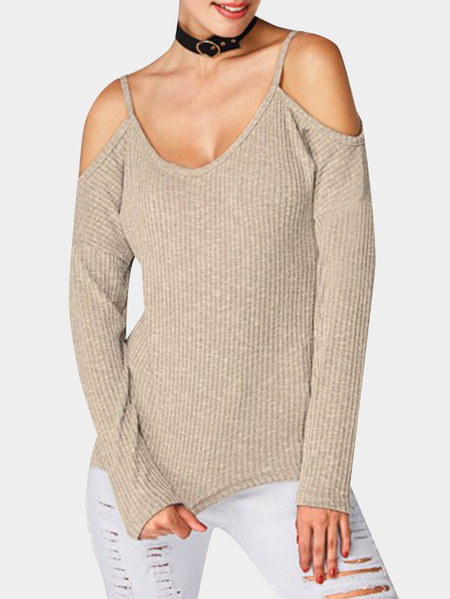 Khaki Spaghetti Cold Shoulder Long Sleeves T-shirt