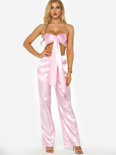 Pink Self Tie Tube Top & Harlan Pants Two Piece Outfits