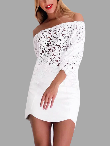 White Elastic Off-The-Shoulder Floral Lace Top