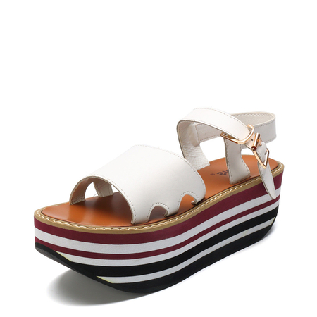 White Stripe Design Platfrom Sandals
