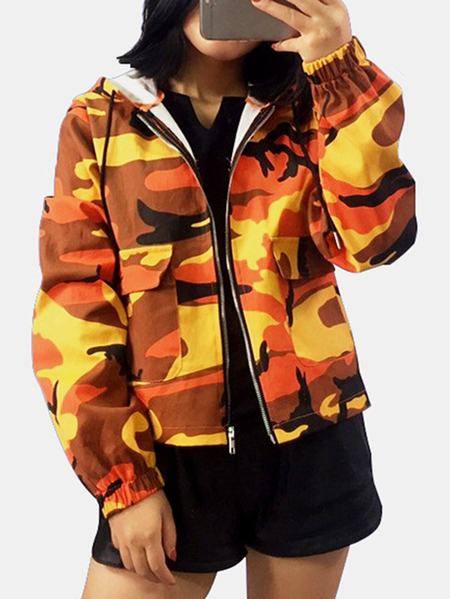 Active Camouflage Pattern Hooded Design Windbreaker Jacket in Orange