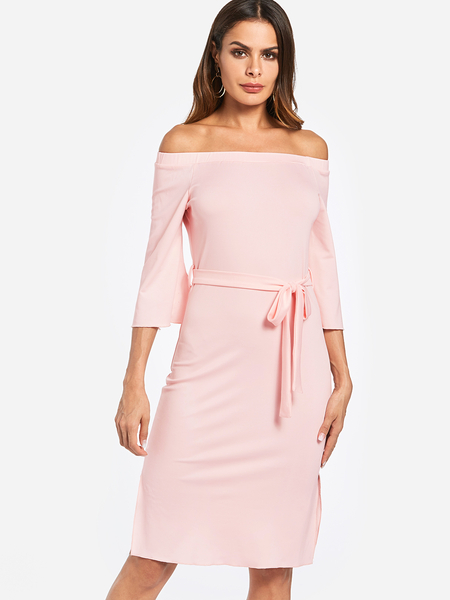 Pink Self-tie Waist Plain Off The Shoulder 3/4 Length Slit Design Sleeves Dress