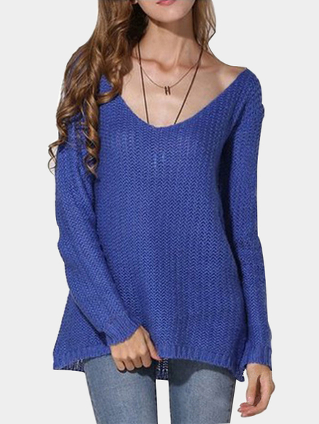 Blue Low-cut V Neck Loose Plunge Sweaters
