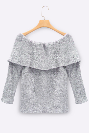 Grey Off The Shoulder Long Sleeves Jumper with Tiered Design