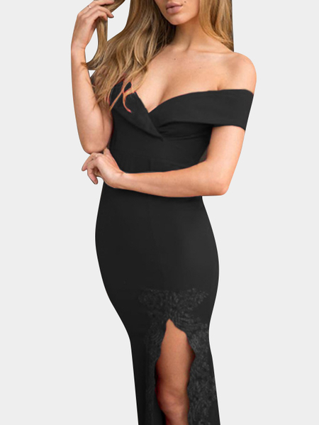 Black V-neck Off Shoulder Lace Hem Sexy Maxi Dress