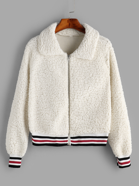 White Stripe Winter Plush Coat