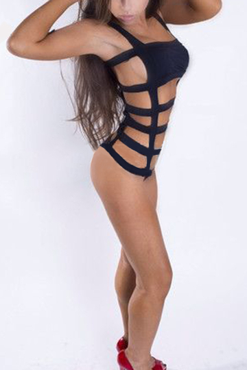 Strappy Cutout Hollow Design One Piece Swimsuit in Black