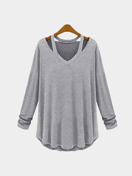Grey Cut Out Design V-neck Long Sleeves T-shirt