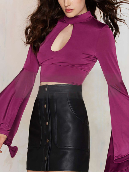 Bodycon High Neck Crop Top With Flared Sleeves