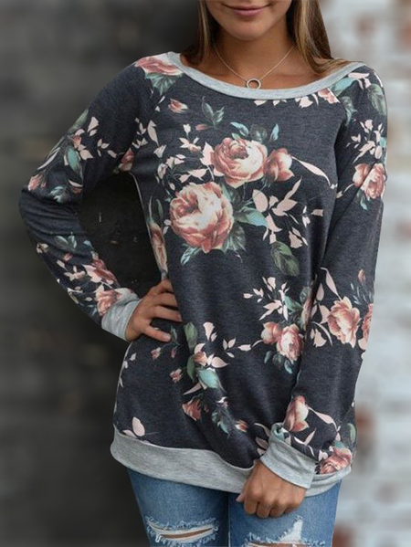 Dark Blue Floral Print Round Neck Long Sleeves T-shirt