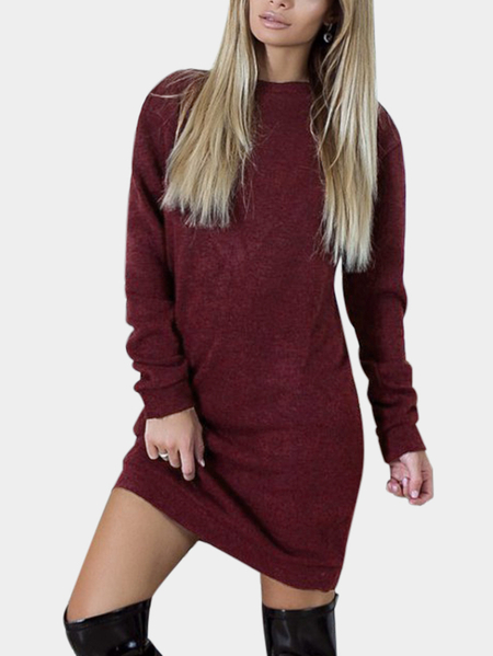 Burgundy Backless Design Round Neck Long Sleeves Dresses