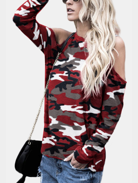 Burgundy Camouflage Round Neck Cold Shoulder Long Sleeves T-shirt