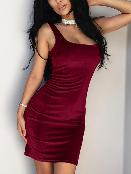 Burgundy Backless Scoop Neck Sleeveless Pleuche Dress