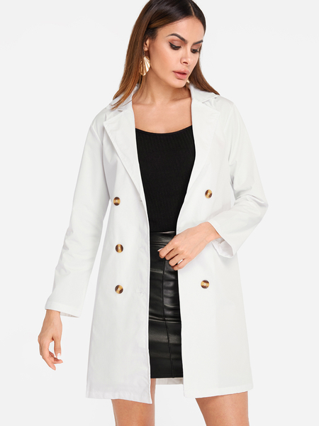 White Lapel Collar Double Breasted Longline Blazers
