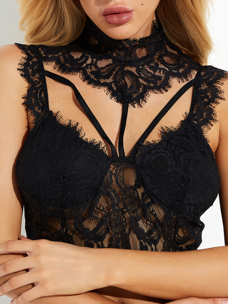 Black Choker Neck Eyelash Trim Lace Detail Bralette Top