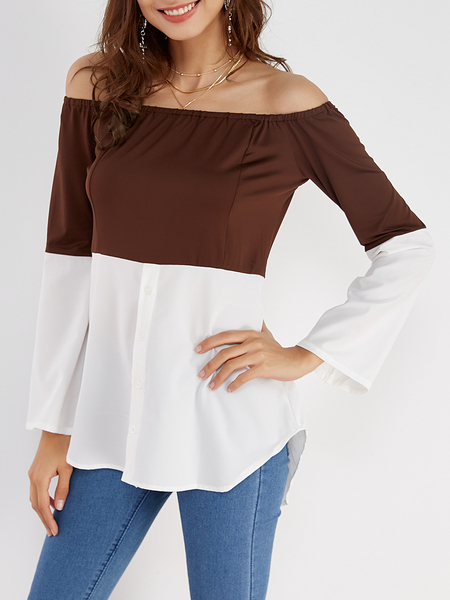 Coffee & White Off Shoulder Long Sleeves T-shirt
