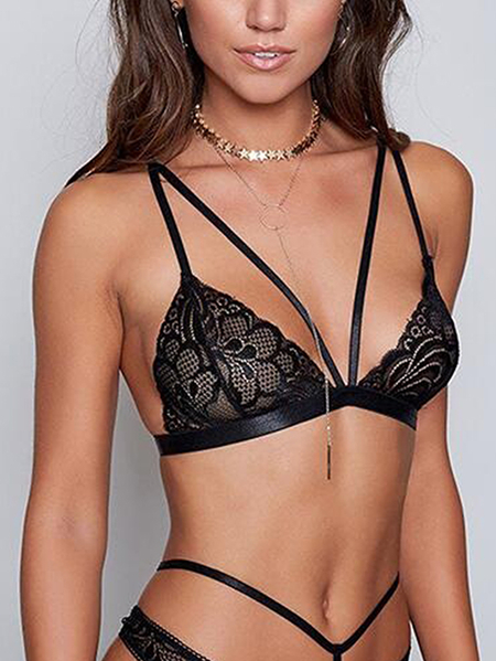 Black Sexy Intimate Lace V-neck Lingerie