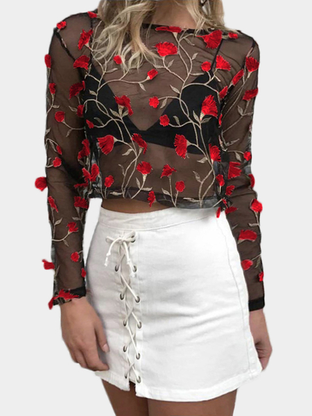 Red Random Flower Embroidered  Net Yarn Round Neck Long Sleeves Top