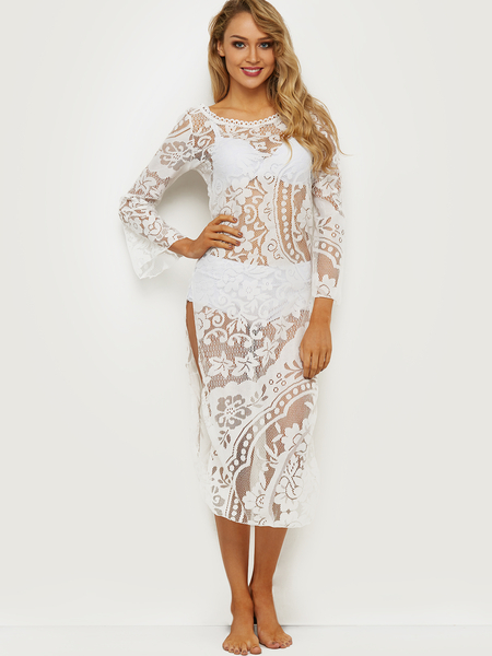 White Lace Slit Beach Dresses