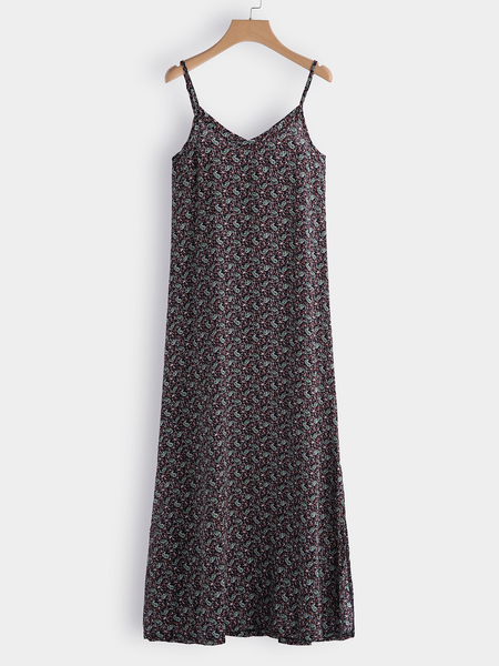 Random Floral Print Spaghetti V-neck Splited Hem Dress