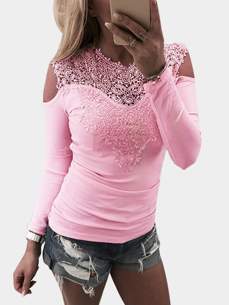 Bodycon Pink Cold Shoulder Lace Insert Long Sleeves T-shirt