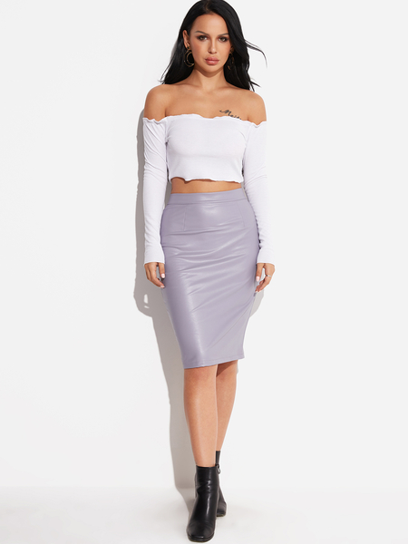 Linght Purple Zip Design Knee Length Leather skirt
